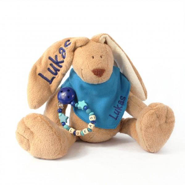 Klassikset: Hase, Halstuch und Schnullerkette mit Wunschname (Modell Lukas)