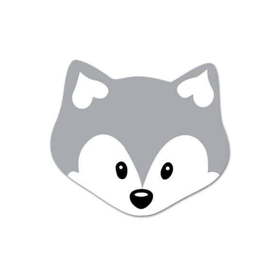 Motivperle Mini-Fuchs vertikal hellgrau