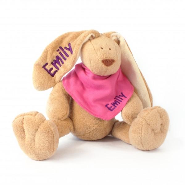 Hase und Halstuch mit Wunschname (Modell Emily)