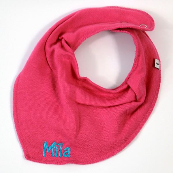 Halstuch mit Name pink/mitteltürkis (Modell Mila)