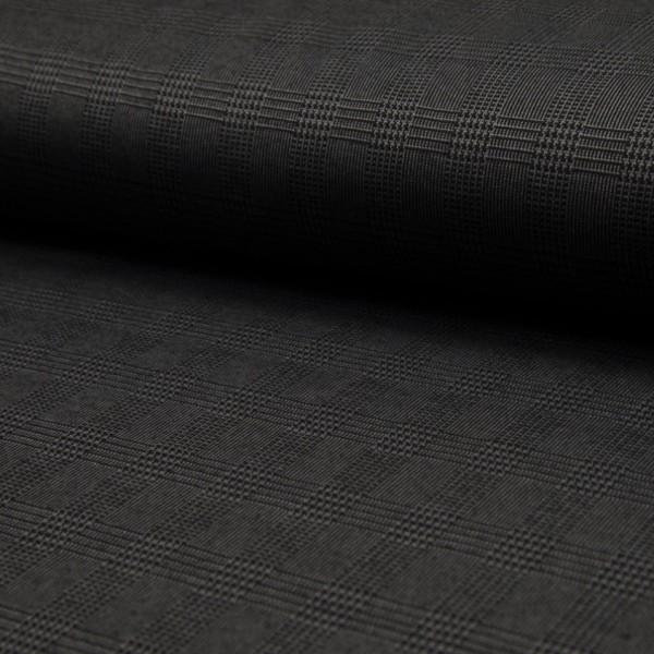 elastischer, karierter Hosenstoff dunkelgrau/schwarz