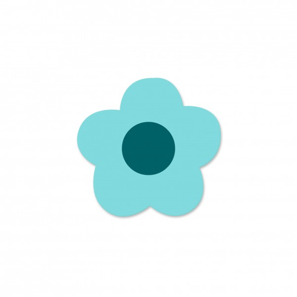 Motivperle Mini-Blume horizontal helltürkis/dunkelpetrol