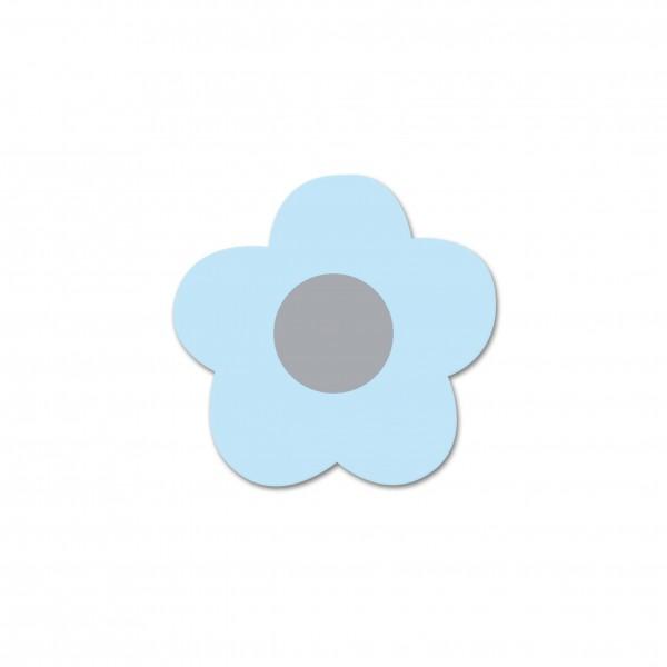 Ausverkauf Motivperle Mini-Blume horizontal babyblau/hellgrau