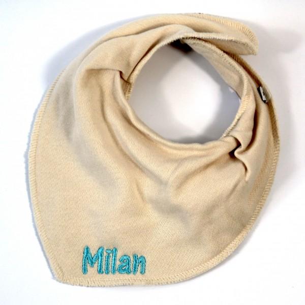 Halstuch mit Name creme/helltürkis (Modell Milan)