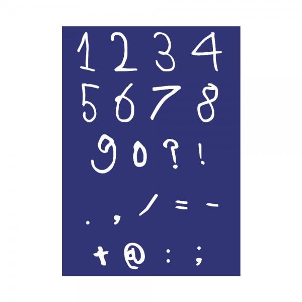 Schablone A4, Zahlen + Zeichen Handschrift