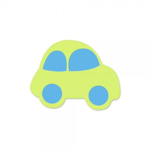Motivperle Auto horizontal lemon/skyblau