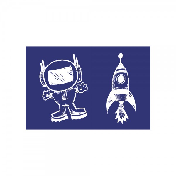 Schablone A5, Astronaut + Rakete