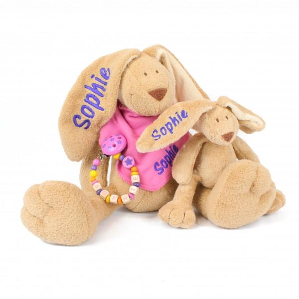 Klassikset+: Hase, Halstuch, Schnullerkette, Minihase mit dem Namen Sophie