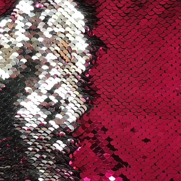 Wendepaillettenstoff Applikationsstück klein 20*30cm pink glänzend / silber glänzend