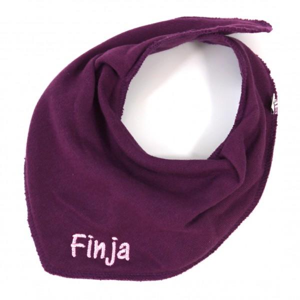 Halstuch mit Name violett/babyrosa (Modell Finja)