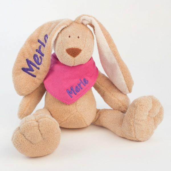 Hase und Halstuch mit Wunschname pink/lila (Modell Merle)