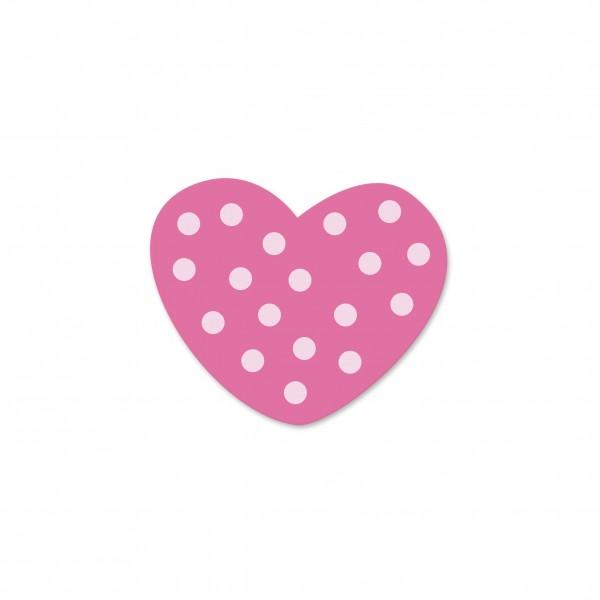 Ausverkauf Motivperle Mini-Tupfenherz horizontal pink/babyrosa