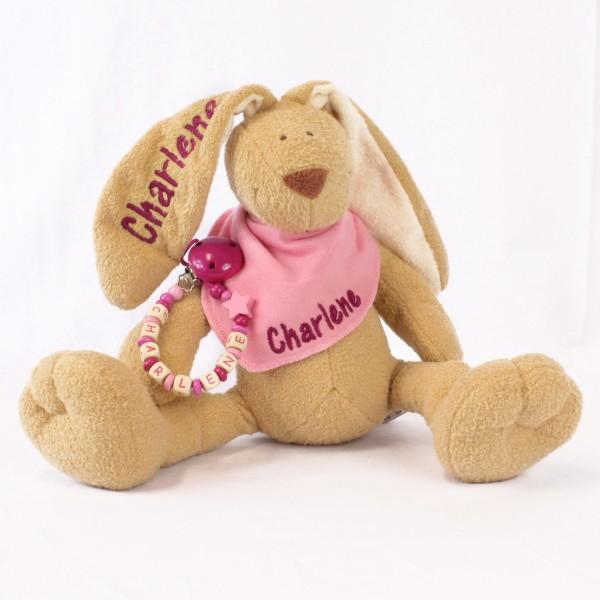 DEAL Klassikset: Hase, Halstuch und Schnullerkette mit Wunschname (Modell Charlene)