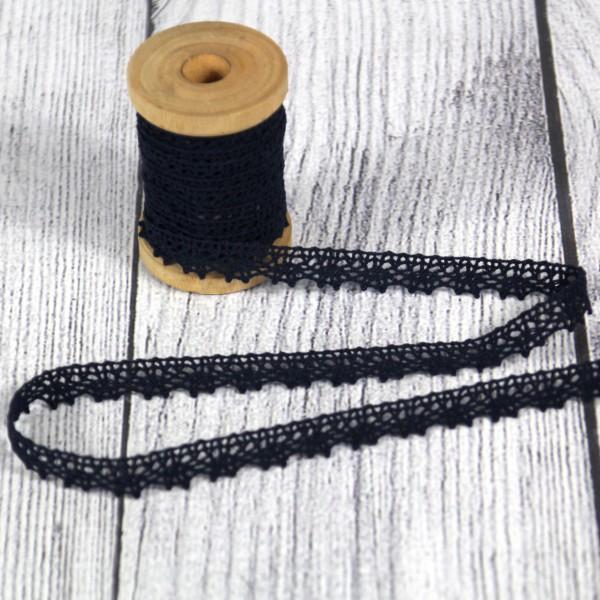 Klöppelspitze 11 mm Baumwolle schwarz