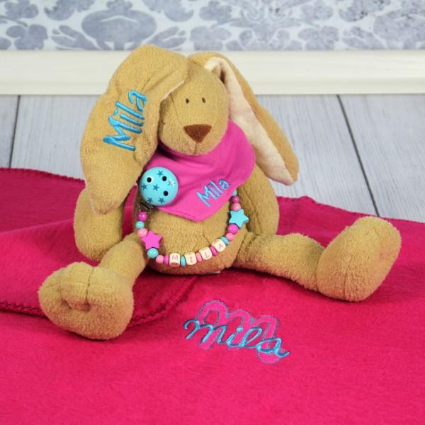 Exklusivset: Hase, Halstuch, Schnullerkette und Decke mit Wunschname (Modell Mila)